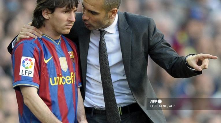 Lionel Messi y Pep Guardiola en Barcelona