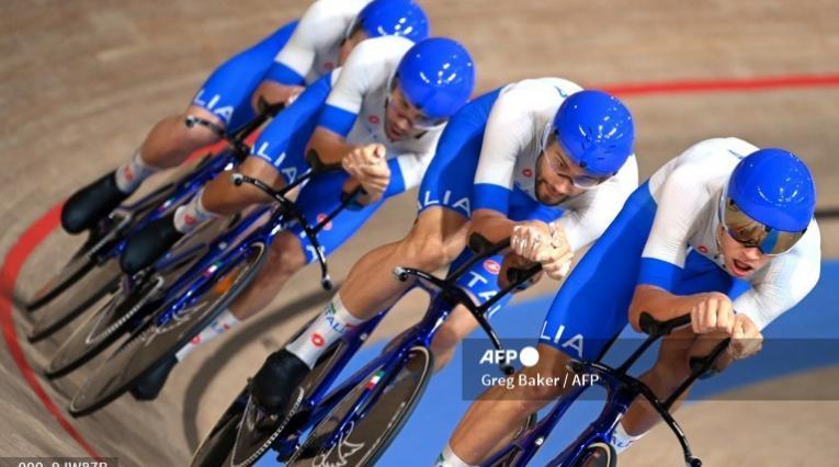 Filippo Ganna y la selección de Italia en la pista