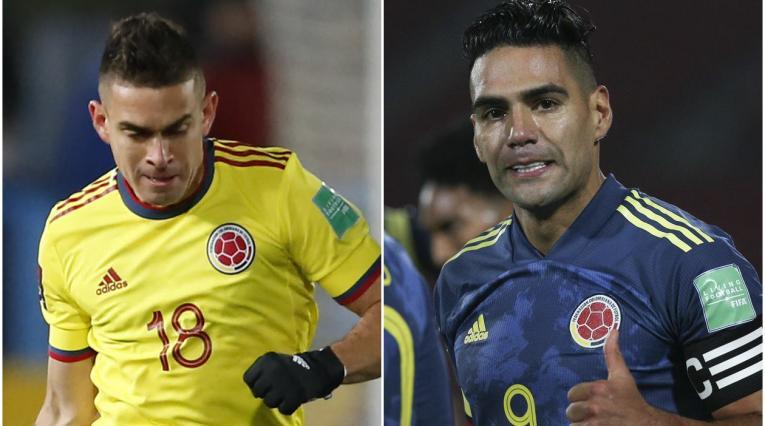Santos Borré y Falcao, jugadores de la Selección Colombia