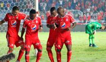 América de Cali, jugadores celebrando tras un gol anotado ante Leones en la Liga Águila II 2018
