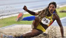 Caterine Ibargüen fue segunda en salto largo en la Liga Diamante