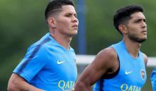 Jorman Campuzano entrenando con Boca Juniors