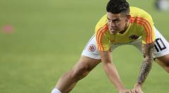James Rodríguez en una sesión de trabajo con la Selección Colombia