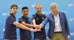 Mikel Landa, Nairo Quintana, Alejandro Valverde y Eusebio Unzué