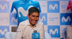 Nairo Quintana, ciclista colombiano al servicio de Movistar Team, en Bogotá
