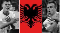 Granit Xhaka y Xherdan Shaqiri celebrando sus goles ante Serbia