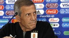 Óscar Washington Tabárez, técnico de Uruguay en rueda de prensa