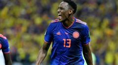 Yerry Mina celebrando su gol en el Mundial de Rusia