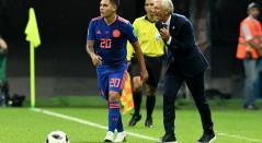 Juan Fernando Quintero y José Pékerman con Colombia en Rusia 2018
