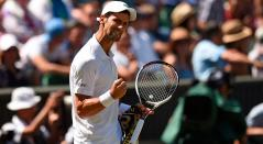Novak Djokovic en la final de Wimbledon ante Kevin Anderson