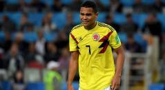 Carlos Bacca con Colombia en el partido ante Inglaterra en el Mundial