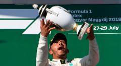 Lewis Hamilton celebra su victoria en el Gran Premio de Hungría de Fórmula 1