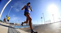 Un atleta de Guatemala durante la maratón de los Juegos Centroamericanos y del Caribe Barranquilla 2018