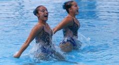 La pareja colombiana en el nado sincronizado de los Juegos Centroamericanos y del Caribe Barranquilla 2018