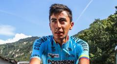 Iván Sosa en una de las etapas del Tour de l'Avenir 2018