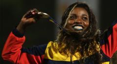Caterine Ibargüen con el oro del salto triple en los Juegos Centroamericanos y del Caribe Barranquilla 2018