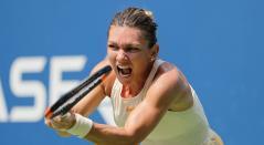 Simona Halep en su partido de primera ronda en el US Open 2018