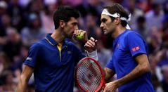 Novak Djokovic y Roger Federer en la Laver Cup 2018