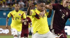 Luis Fernando Muriel en el partido donde Colombia venció 2-1 a Venezuela
