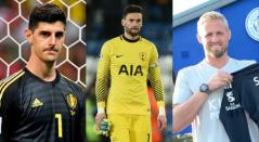 Thibaut Courtois (Real Madrid), Hugo Lloris (Tottenham Hotspur) y Kasper Schmeichel (Leicester City)