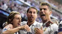 Luca Modric, Sergio Ramos y Cristiano Ronaldo cuando jugaban en el Real Madrid