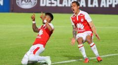 Wilson Morelo celebra el gol que anotó ante el Deportivo Cali para el 1-1