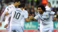 Cristiano, James y Marcelo celebrando un gol en el Real Madrid