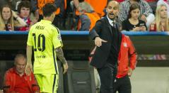 Lionel Messi y Pep Guardiola