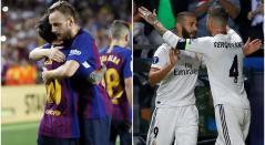 Jugadores de Barcelona y Real Madrid