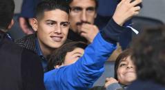 James Rodríguez en el Bernabéu viendo River vs Boca