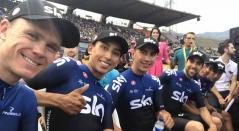 Chris Froome y Egan Bernal con el Team Sky