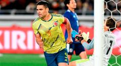 Falcao celebrando el gol para la victoria ante Japón