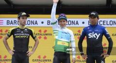 Miguel Ángel López (Astana) junto a Adam Yates (Mitchelton) y Egan Bernal (SKY)