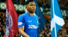 Alfredo Morelos en uno de los partidos del Rangers en la liga de Escocia