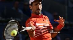 Novak Djokovic durante las semifinales en el Masters 1000 de Madrid