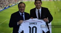 Florentino Pérez y James Rodríguez - Real Madrid