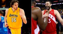 Pay y Marc Gasol campeones de la NBA con Lakers y Toronto, respectivamente.