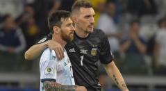 Franco Armani y Lionel Messi - Selección Argentina