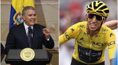 Iván Duque, presidente de Colombia, y Egan Bernal, ganador del Tour de Francia