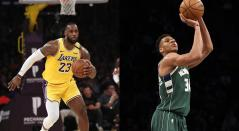 LeBron James y Giannis Antetokounmpo