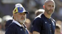Diego Maradona y el 'Gallego' Méndez, su asistente técnico