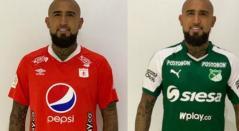 Arturo Vidal vistiendo las camisetas de América y Cali