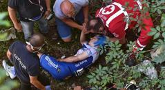 Evenepoel sufrió fuerte caída en Lombardía