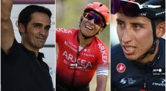 Alberto Contador, Nairo Quintana y Egan Bernal