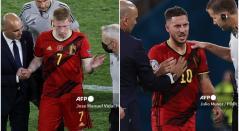 Kevin De Bruyne y Eden Hazard, selección de Bélgica