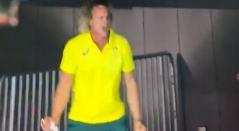 Celebración del entrenador de Australia en los Juegos Olímpicos