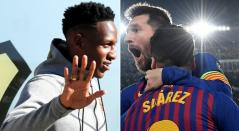 Yerry Mina vs Messi y Luis Suárez